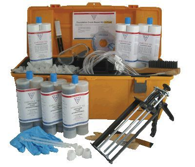 Foundation wall repair kits epoxy and polyurethane