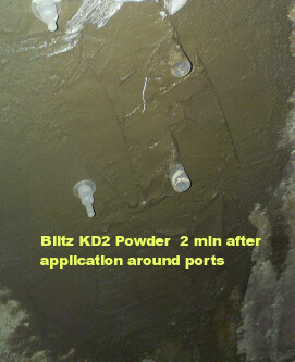 Using @d2 Blitz to seal in low pressure injection ports for polyurethane