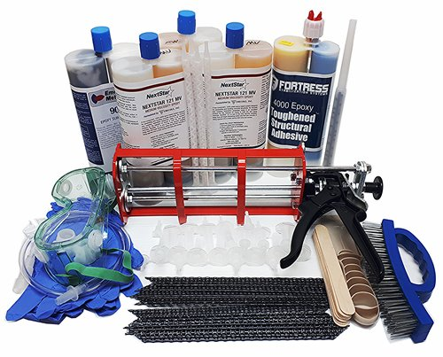 Carbon Fiber Stitch Staple and Epoxy 8-15 ft Ultimate Repair Kit