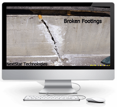 Broken concrete footing
